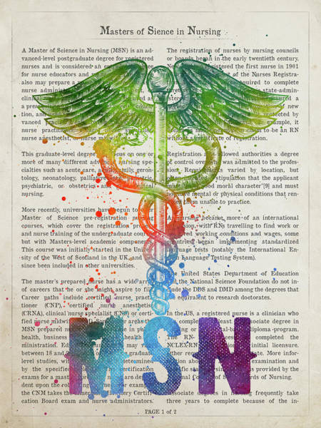 Wall Art - Digital Art - Masters Of Sience In Nursing Gift Idea With Caduceus Illustratio by Aged Pixel