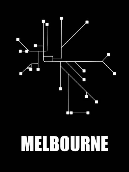 Wall Art - Digital Art - Melbourne Black Subway Map by Naxart Studio