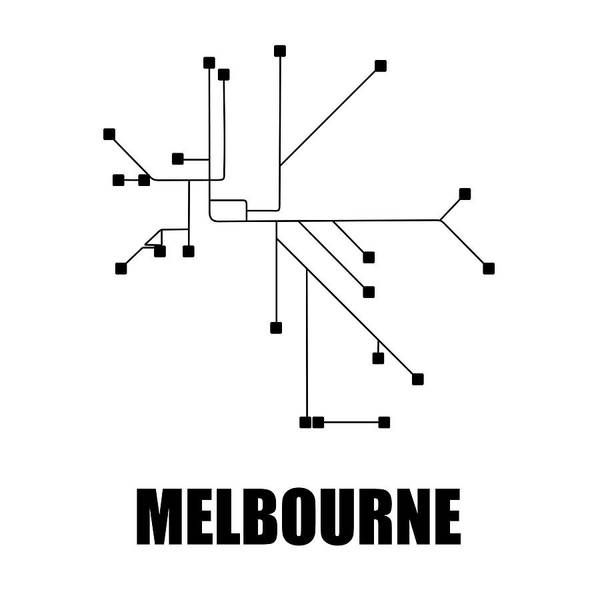 Wall Art - Digital Art - Melbourne White Subway Map by Naxart Studio