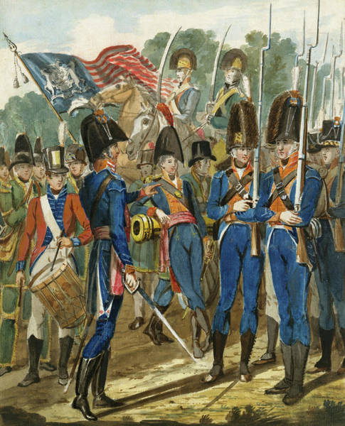 Drawing - Members Of The City Troop And Other Philadelphia Soldiery by John Lewis Krimmel