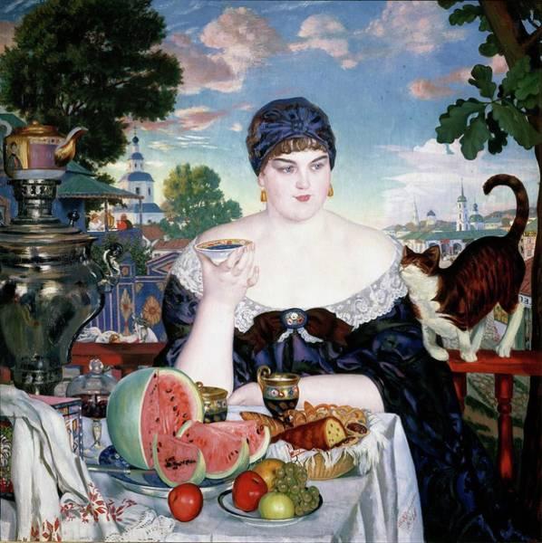 Azure Painting - Merchant's Wife At Tea by Boris Kustodiev