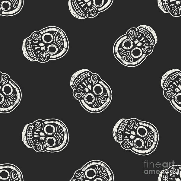 Wall Art - Photograph - Mexican Skull Doodle Seamless Pattern by Hchjjl