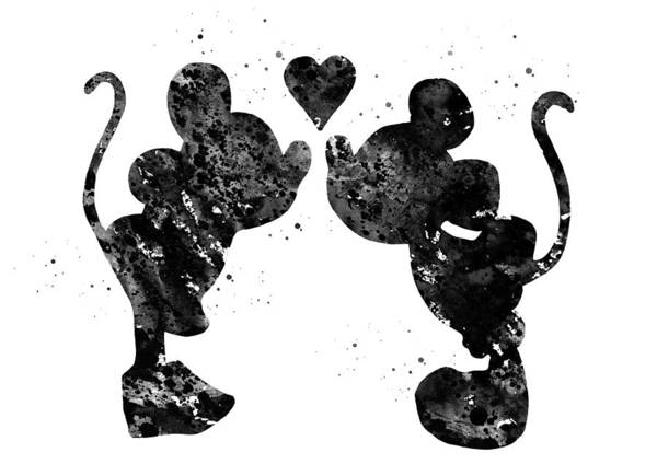 Wall Art - Digital Art - Mickey And Minnie Mouse In Love by Erzebet S
