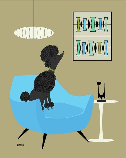 Wall Art - Digital Art - Mid Century Modern Black Poodle by Donna Mibus