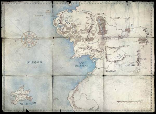 Frodo Digital Art - Middle-earth by Maps of Middle-Earth