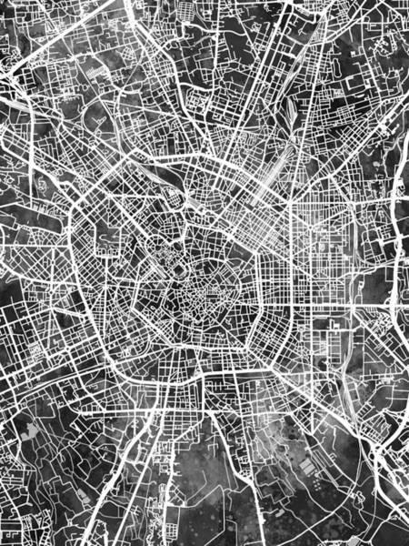 Digital Art - Milan Italy City Map by Michael Tompsett