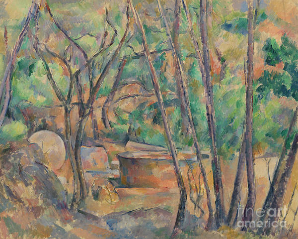 Wall Art - Painting - Millstone And Cistern Under Trees by Paul Cezanne