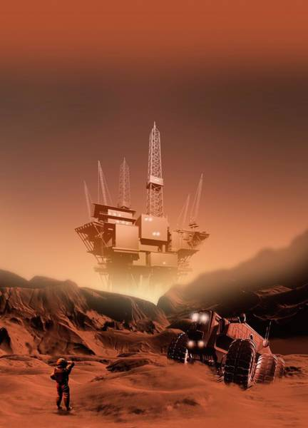 Astronaut Digital Art - Mining On Mars, Artwork by Victor Habbick Visions