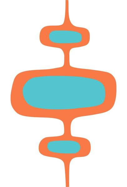 Digital Art - Mod Pod One In Turquoise And Orange by Donna Mibus