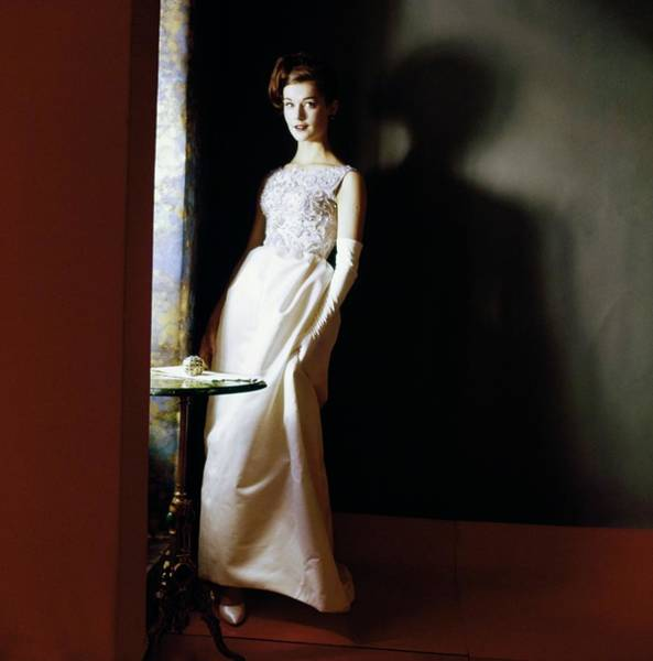 Train Photograph - Model In A Bergdorf Goodman Dress by Horst P. Horst