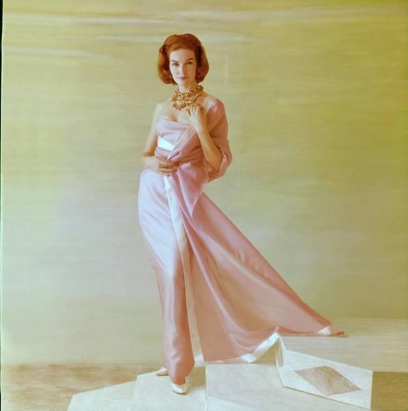 Lanvin Photograph - Model In A Lanvin Castillo Gown by Henry Clarke
