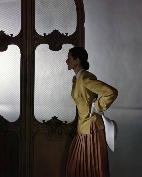 Screen Photograph - Model In A Vogue Patterns Ensemble by Horst P. Horst
