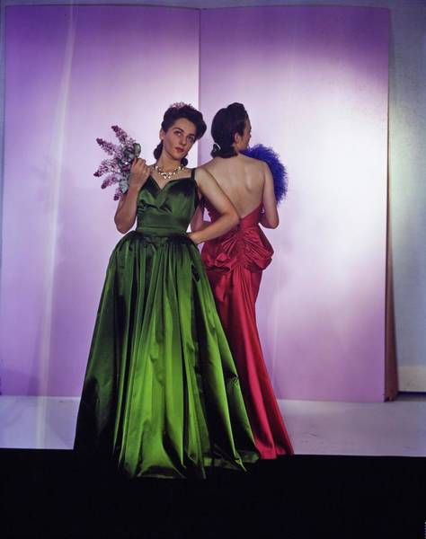 Wall Art - Photograph - Models In Nettie Rosenstein Satin Gowns by Horst P. Horst