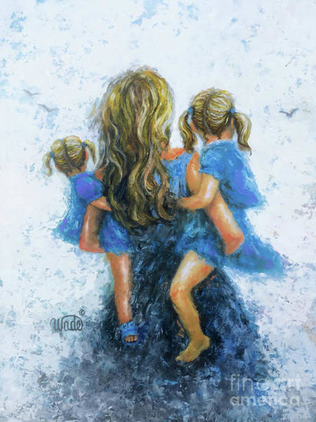 Wall Art - Painting - Mommy, Carry Me Too Two Daughters by Vickie Wade