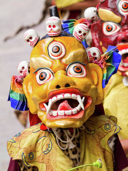 Wall Art - Photograph - Monk In Dharmapala Mask Performs A Mystery Dance Of Tantric Tibetan Buddhism On Cham Dance Festival by Oleg Ivanov