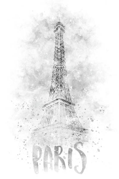 Wall Art - Photograph - Monochrome Art Eiffel Tower - Watercolor by Melanie Viola