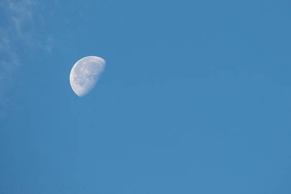 Wall Art - Photograph - Moon With Clouds And Blue Sky by Cindy Miller Hopkins