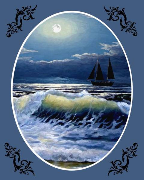 Wall Art - Painting - Moonlit Waves - Oval by Ron Chambers