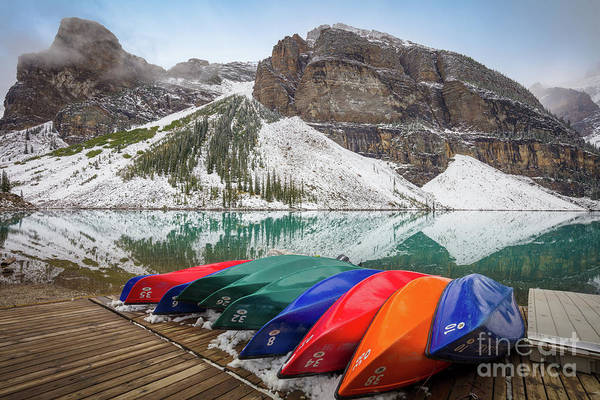 Canadian Rocky Mountains Photograph - Moraine Lake Canoes by Inge Johnsson