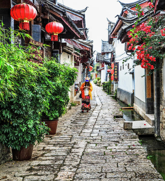 Chinese Clothing Wall Art - Photograph - Morning Street, Lijiang Yunnan China by Feng Wei Photography