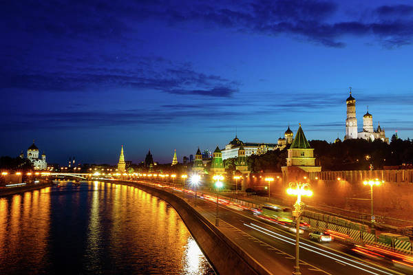 Wall Art - Photograph - Moscow Kremlin After Sunset by Alexey Stiop