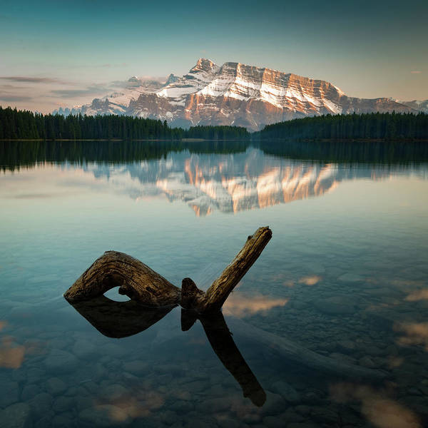 Photograph - Mount Rundle And Two Jack Lake by Peter OReilly