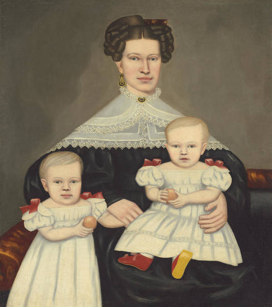 Wall Art - Painting - Mrs. Paul Smith Palmer And Her Twins by Erastus Salisbury Field