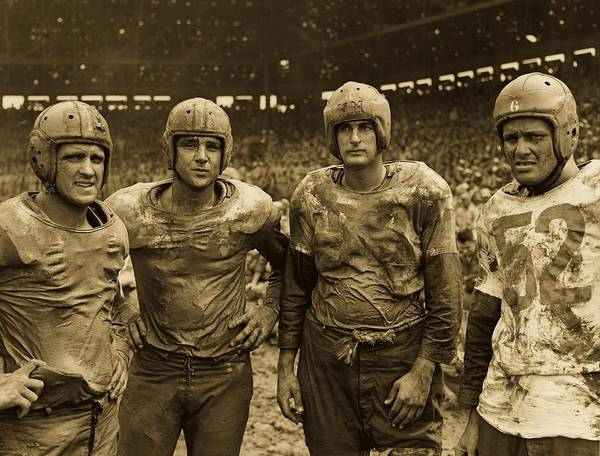 Wall Art - Photograph - Muddy Navy Football Players 1945 by U S N A