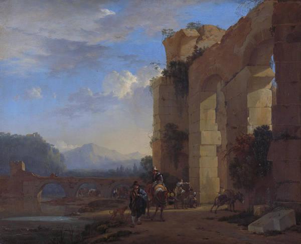 Wall Art - Painting - Muleteers Beside An Italian Ruin by Jan Asselijn