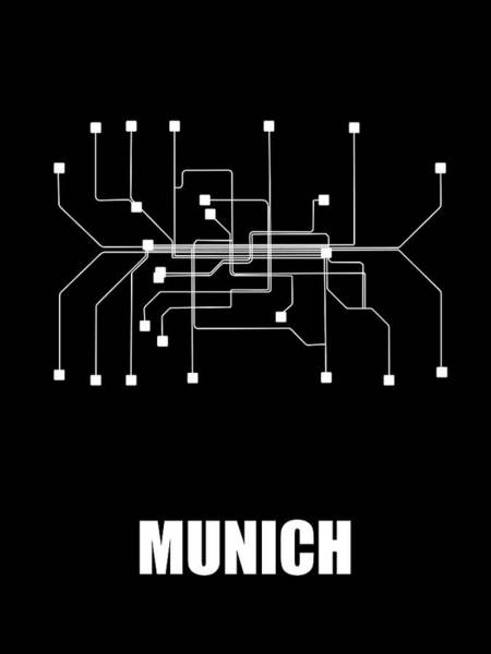 Wall Art - Digital Art - Munich Black Subway Map by Naxart Studio