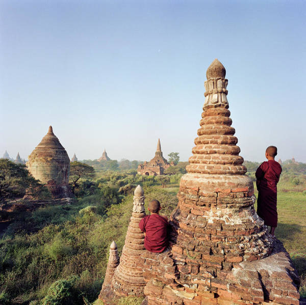 Photograph - Myanmar, Bagan, Buddhist Monks On Temple by Martin Puddy
