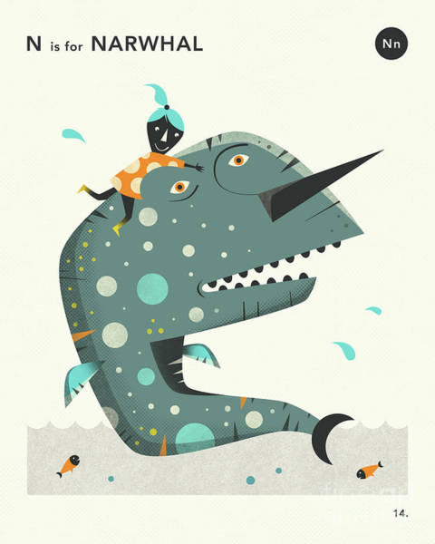 Wall Art - Digital Art - N Is For Narwhal 2 by Jazzberry Blue