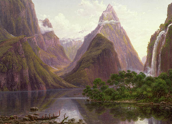 Wall Art - Painting - Native Figures In A Canoe At Milford Sound by Eugen von Guerard