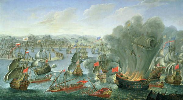 Wall Art - Painting - Naval Battle With The Spanish Fleet by Pierre Puget