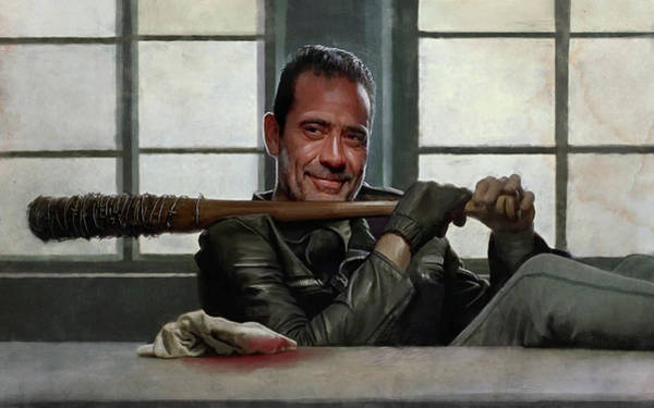 Wall Art - Painting - Negan And Lucielle - The Walking Dead by Joseph Oland