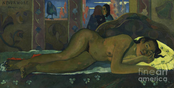 Wall Art - Painting - Nevermore, 1897  by Paul Gauguin