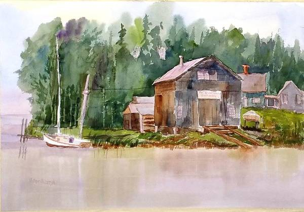 Painting - New England Boat Repair by Larry Hamilton