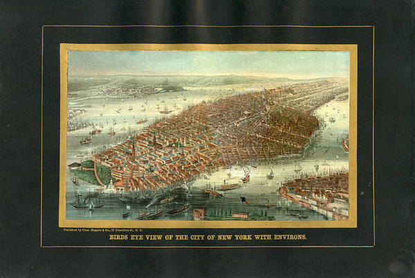 Outdoors Digital Art - New York City 1850 To 1899 Birds Eye by Historic Map Works Llc
