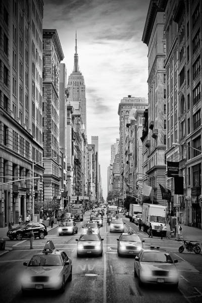 Wall Art - Photograph - New York City 5th Avenue Traffic - Monochrome by Melanie Viola