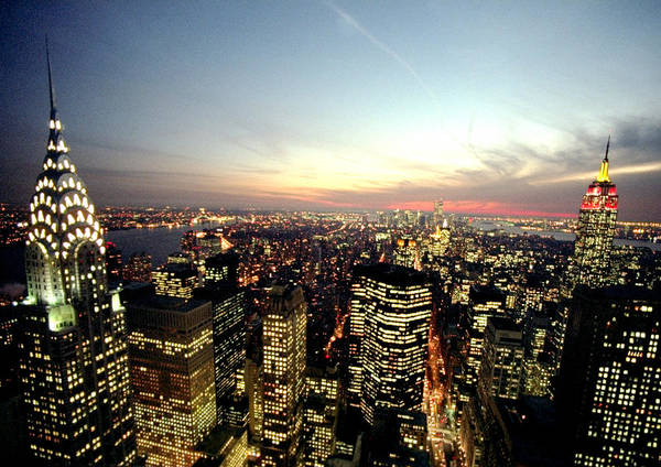 Usa State Photograph - New York City Skyline At Dusk With The by New York Daily News Archive