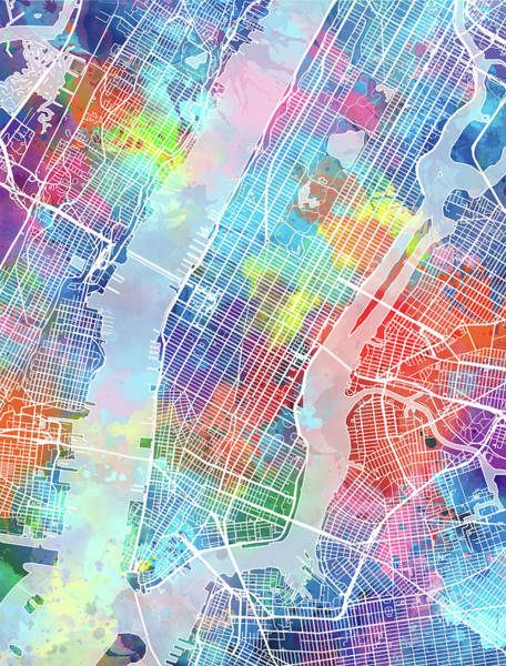 Wall Art - Digital Art - New York Map Watercolor by Bekim M