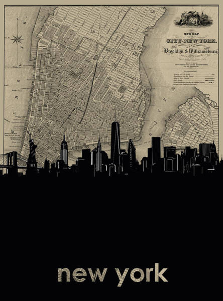 Wall Art - Digital Art - New York Skyline Map by Bekim M