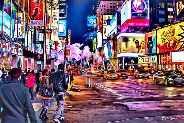 Wall Art - Digital Art - New York Times Square by Stephen Younts