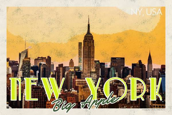 Manhattan Skyline Painting - New York Usa Travel Poster V7c by Celestial Images