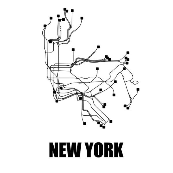 Wall Art - Digital Art - New York White Subway Map by Naxart Studio
