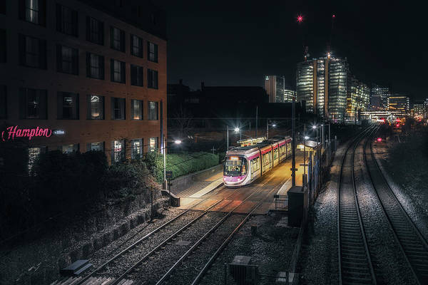 Photograph - Night At St Pauls Tram Station by Chris Fletcher