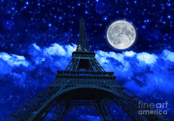 Photograph - night sky and Eiffel Tower by Benny Marty