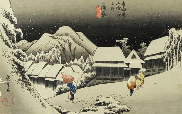 Wall Art - Painting - Night Snow, Kambara by Utagawa Hiroshige