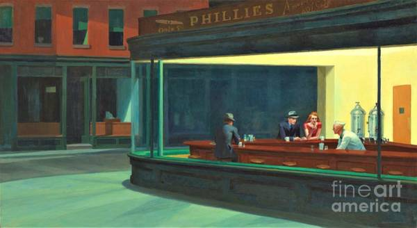 Wall Art - Painting - Nighthawks  by Reproduction