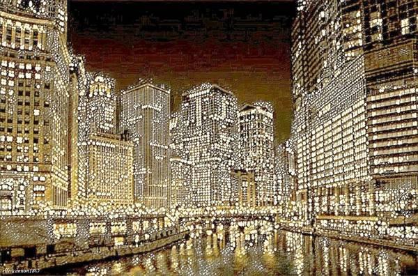 Chicago River Digital Art - Nightlights by Ellen Cannon